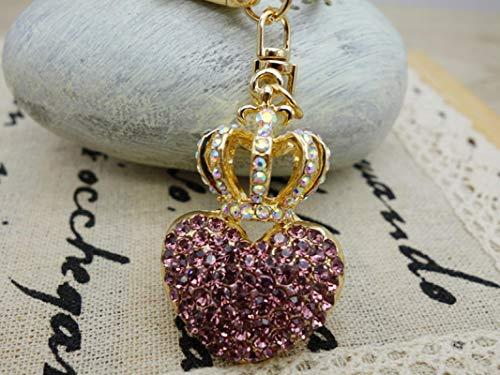 XWYZY Llavero de la joyería del monedero de los encantos del Rhinestone Crystal Crown Llavero para el bolso del coche titular de la llave