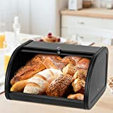 Metal Bread Boxes, Bread Box Storage Bin Kitchen Container with Roll Top Lid Iron Countertop Containers Metal Food Storage Bread Keeper Large Capacity Home Kitchen Counter (Black)