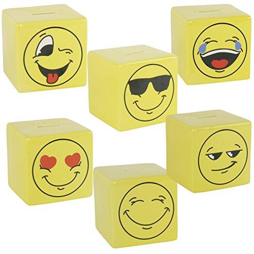 Spardose Emoji Emoticon Emojicon Lach Smiley Keramik 10,4 cm 6 verschiedene Motive (mit Herzen in den Augen)