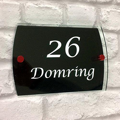 DSD Supplies ltd. gepersonaliseerd acryl huis SIGN PLAQUE met huisnummer & straatnaam | deur modern glas effect