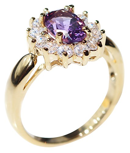 Ah! Jewellery Ladies Stunning 8mm x 6mm GENUINE 1.45CT AMETHYST Ring. Gold Filled. UK Guarantee: 3µ. 3.6GR.
