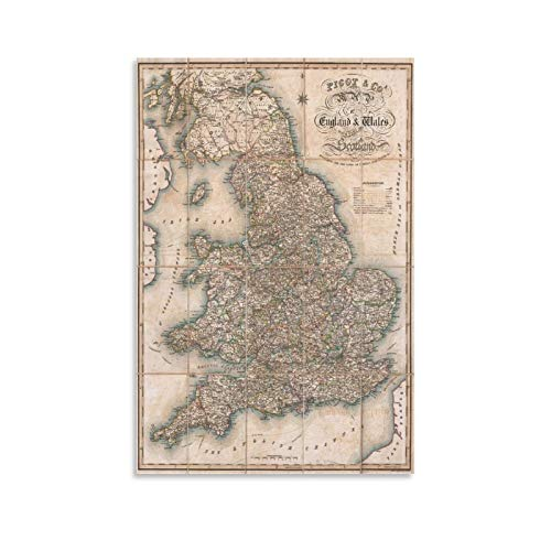 LXYQG 1830 Pigot Pocket Map of England and Wales, England Old Map Art Poster e Wall Art Print Modern Family Room Poster estetico regalo 40 x 60 cm