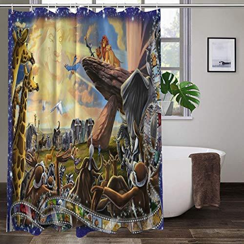 Disney Duschvorhang, der König der Löwen, 167,6 x 182,9 cm, maschinenwaschbar, Stoff, Badezimmer-Dekor-Set mit Haken