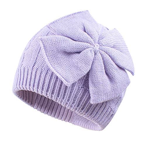 Pesaat Winter Baby Mütze Mädchen Wintermütze Baumwolle Warme Strickmütze Süßen Strickschleife Mädchen Beanie Mütze [MEHRWEG] (violett, 0-6Monate)