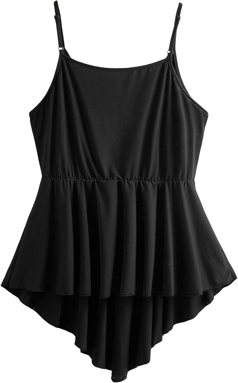 Romwe Women's Plus Size Casual Ruffle Babydoll Deep V Neck High Low Hem Sleeveless Cami Tank Tops Camisole