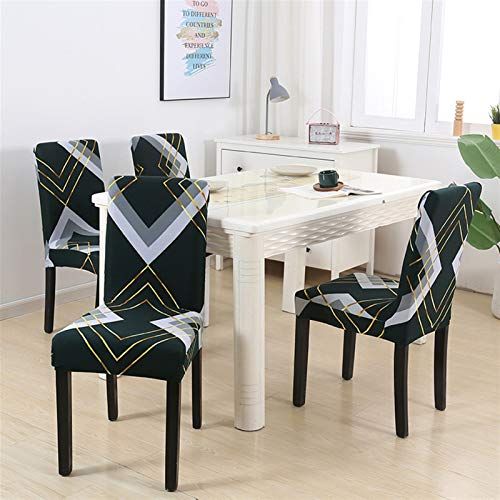 Dining Chair Pad 1/2/4/6pcs Geometric Chair Covers Spandex Elastic Stretch Decoration Chair Dining Seat Cushion Anti-dirty Washable Seat Pad (Color : Pattern 23, Specification : 2pieces)
