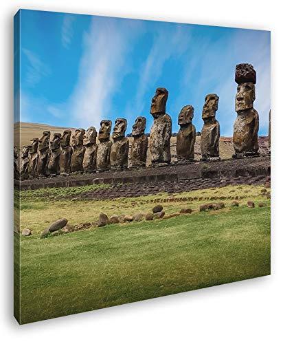 deyoli Steinköpfe auf den Osterinseln Format: 70x70 als Leinwandbild, Motiv fertig gerahmt auf Echtholzrahmen, Hochwertiger Digitaldruck mit Rahmen, Kein Poster oder Plakat