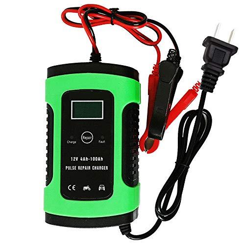 Lecimo Cargador de batería para automóvil, Cargador de batería automático de 12 V con Carga de 3 etapas, Cargador de Refuerzo de Banco de energía de Arranque automático portátil