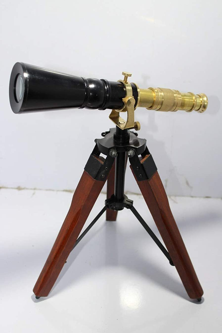 US HANDICRAFTS Antique Brass Decorative Nautical Double Barrel Telescope with Brass Stand Antique Gift.