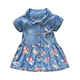 Sameno Toddler Baby Girls Dress Floral Print Bowknot Short Sleeve Princess Denim Princess Dress Outfit (Blue, 0-6 Months) (Blue, 12-18 Months)