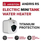 """Ariston Andris 2.5 Gallon 6-Year 120-Volt Corded Point of Use Mini-Tank Electric Water Heater 13 EASILY ACCESSIBLE HOT WATER: Compact designed 8 Gal. mini tank. Provides instant hot water at point of use. 6-year limited warranty on tank, 2-year warranty on parts. Wall or floor mounted unit (wall brackets & rubber feet included). DO IT YOURSELF INSTALLATION: 2000-Watt heating element draws 12 Amp. 65°F-161°F temperature range. CAN FIT VIRTUALLY ANYWHERE: Dimensions (pipes included): 17.5""""W x 17.5""""H x 15.25""""D; Water Connection: 3/4"""" NPT"""