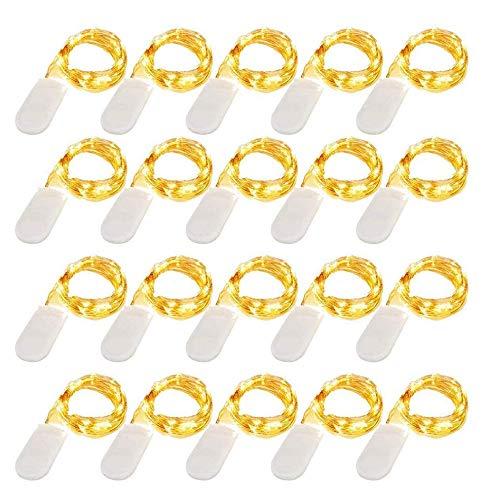 LED Lichterkette Batterie 20 Stück Kupfer Drahtlichterkette Warmweiß 1M 10 LEDs Weihnachtsbeleuchtung für Innen und Aussen Dekoration