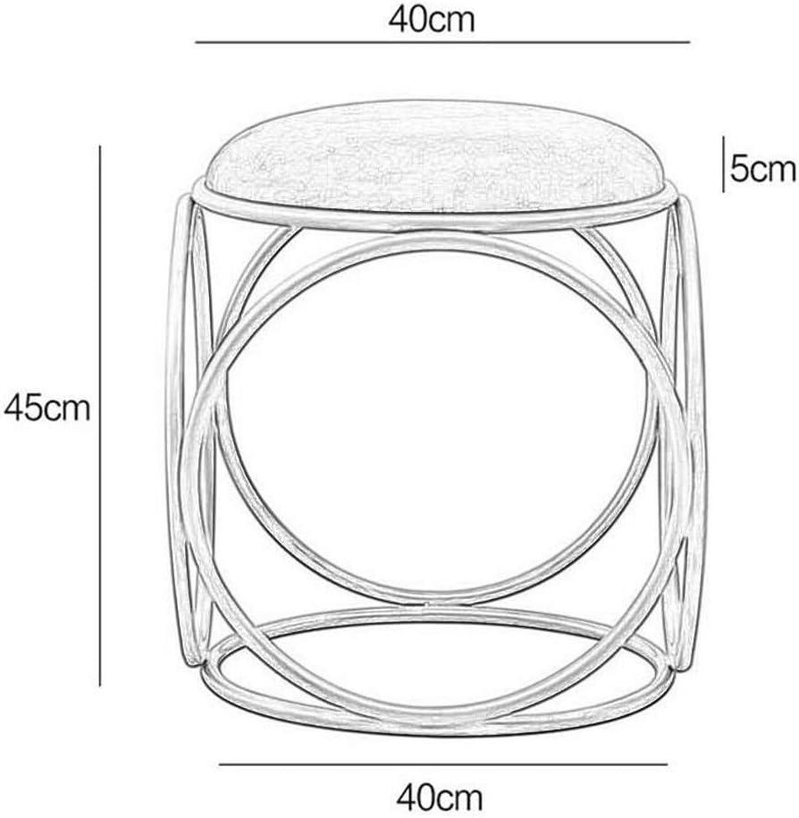 LINXUAN Repose-Pieds Tabouret Canapé Mode Simple Rond Princesse Coiffeuse Tabouret Chaise Moderne Minimaliste Tabouret de Maquillage 0819 (Color : Pink) White