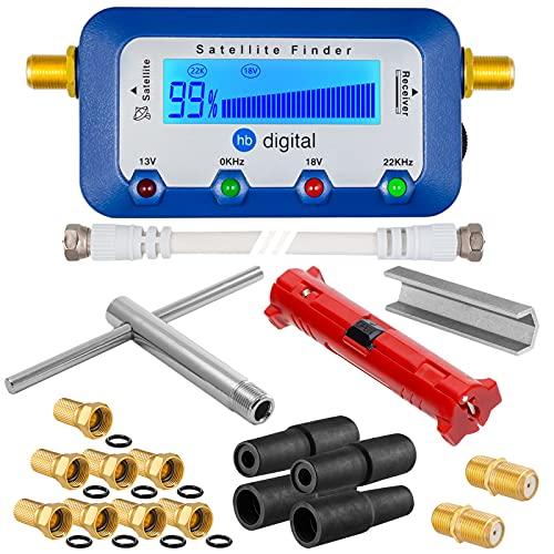 HB-Digital SET: Sat-Finder digitale con Display + Spelafili + Chiave d'installazione + Aiuto per svitare + 8x F-Connettore placcato oro + 2x Connettori + 4x Gommini di protezione dalle Intemperie