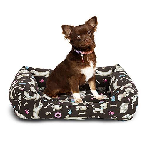 BCASE Cama para Perros, Cama para Mascotas Suave y Cómoda Estilo Cuna, Material 100% Poliéster, 55 x 68 CM, con Diseño de Perros, Huesos y Huellas, En Color Café Oscuro.