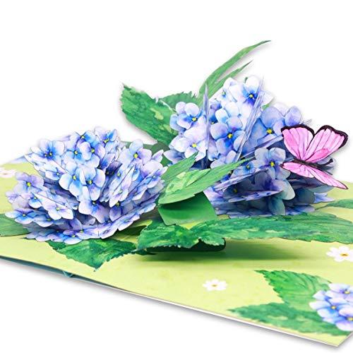 Liif 3D-Grußkarte, Hortensien-Blume, Pop-Up-Karte, Muttertagskarte, Frühling, Sommer, Jahrestag, Vatertag, Get Well, Thinking of You, alle Anlässe, Geburtstagskarten für Frauen, Mutter, sie
