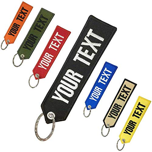 Prsonalized Keychain, Custom Any Text Own,Custom Keychains for Motorcycles Cars ATV Scooters -Great Gift Embroidery Key ring for Men or Women,Double Sided Key Tag for Motorcycle/Scooters/cars