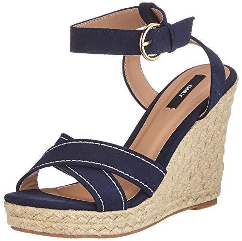 ONLY ONLAMELIA-12 Life Stitch Heeled Sandal, Sandalia con taln Mujer, Azul Marino, 39 EU