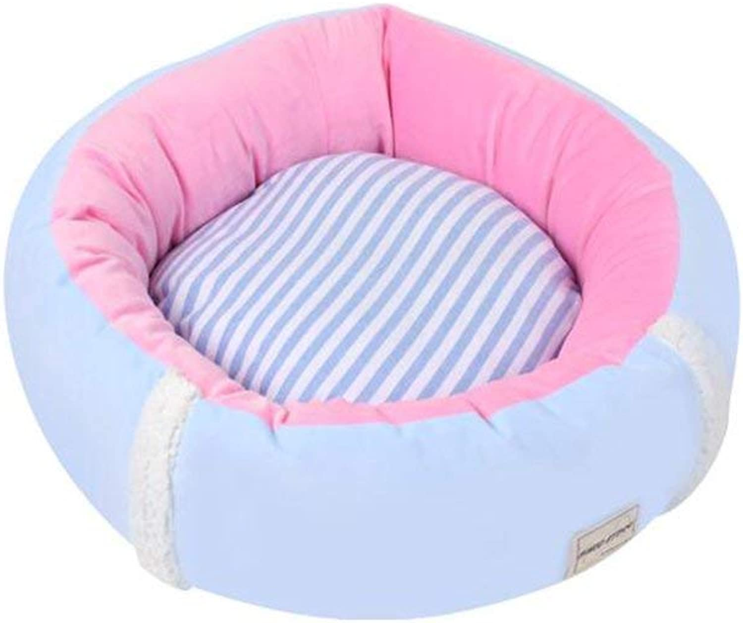 Pet Bed Beds FS421 Super Soft and Comfortable Cats and Dogs Pet Bed Round Shape Four Seasons Universal Removable Wash (color   bluee, Size   Medium)