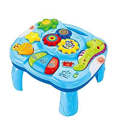 WISHTIME Musical Learning Table Baby Toys 2 in 1 Early Education Toys Music Activity Center Table for Infant Babies Toddler Boys Girls 6 Months up from Hanji