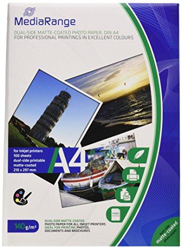 MediaRange DIN A4 Fotopapier für Tintenstrahldrucker, beidseitig matt, 140g, 100 Blatt