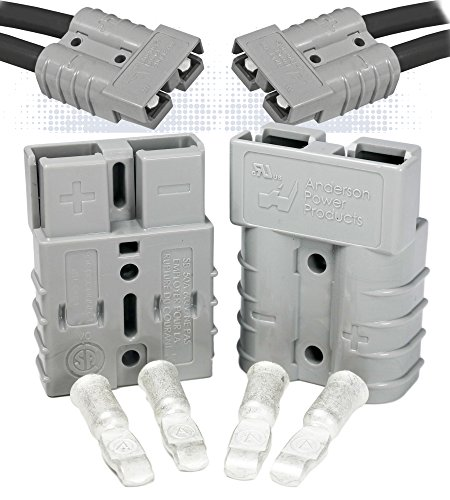 Anderson Power Products SB50 Connector Kit, 50 Amps, Gray Housing, w/ 10 12 AWG, 6319 (1 Pair)