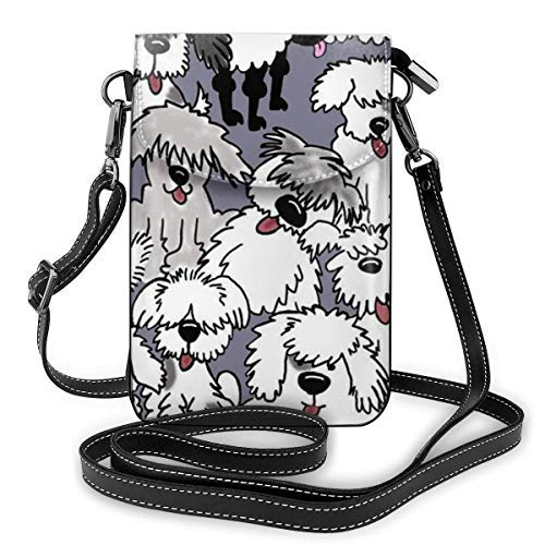 XCNGG Premium PU Leather Crossbody Bag Cell Phone Purse, Lightweight Mini smart phone Pouch with Adjustable Shoulder Strap, Old English Sheepdogs