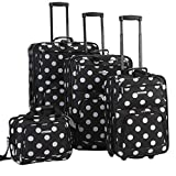 Rockland Polka Softside Upright Luggage Set, Black Dot, 4-Piece (14/19/24/28)