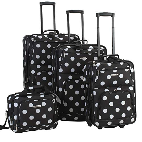 4 Piece Rockland Polka Softside Upright Luggage Set For $22.50 From Amazon