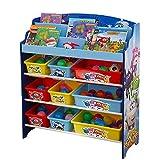 HS-Lighting Kinderregal Bücherregal Spielzeugregal Spiezeugkisten mit 9 Boxen Kinder Aufbewahrungsbox