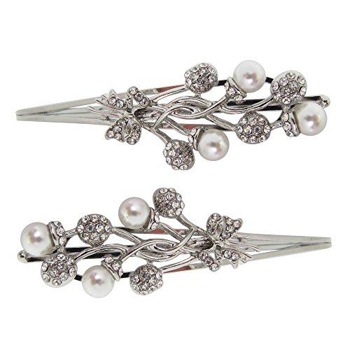 Coppia di argento cristallo e perla clip/fermacapelli forcine da sposa/matrimonio fermagli per capelli