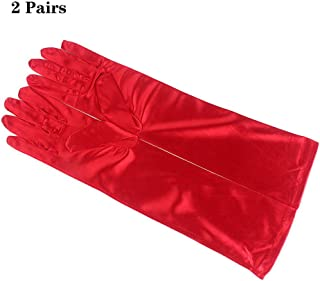 2 Pairs Long Satin Gloves Elbow Length Opera Gloves for Women Evening Wedding Party,Red