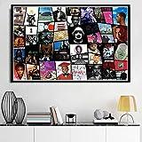 zhuziji Photo d'art Mural Art de l'album Hip Hop Star de la Musique Rap Photo d'art Mural Cadeau Art Mural pour la décoration Moderne de la Chambre à Coucher du Salon 60x90cm(Pas de Cadre)