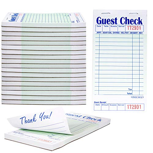 Guest Check Pads For Waiters Waitresses Servers Restaurants Orders or Child's Practice Single Page Durable Thick Paper 50 Sheets 20 Pk