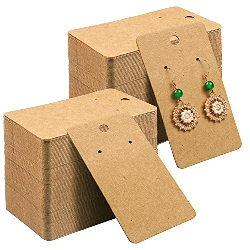 Earring Card Holder Earring Display Cards Hanging Earring, Kraft Paper Tags, 500 Pack, 3.5 x 2 Inches (Brown)