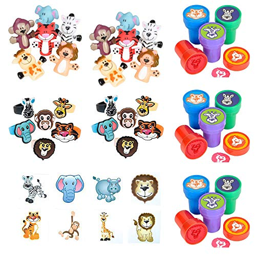 48 PC Zoo Animal Party Supply Pack - One Inch Rubber Zoo Animal Rings, Two Inch Zoo Animal Tattoos, Zoo Animal Finger Puppets, Zoo Animal Stampers – Party Favors