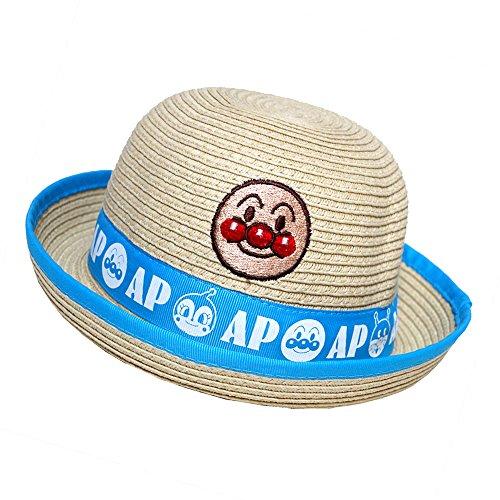 アンパンマン 麦わら帽子 水遊び 遠足 帽子 夏物 ペーパーハット ANPANMAN (ブルー46cm)