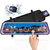 10 Inch Mirror Dash Cam Full Touch Screen, Poaeaon Backup Camera Stream Media, 1080P 170 Front and 1080P 150 Wide Angle Full HD Rear View Camera with G-Sensor, Night Vision