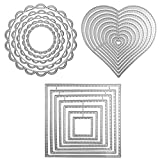 3 diverse forme di stampi da taglio Stampini in metallo per stampi (quadrato, cerchio di fiori e cuore), DaKuan 24 pezzi di goffratura