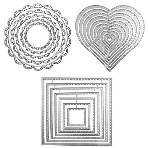 3 formas diferentes de troqueles de corte de plantilla de metal (cuadrado, círculo de flores y corazón), SourceTon 24 piezas herramientas de grabado