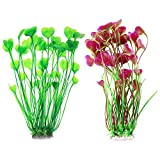 Plantas de Plástico Realistas YUIP 2 Paquetes Planta Artificial Plástico Decoración Pecera ,40CM Altura Plantas Acuario para Decoración simulación viva Criatura Acuario Paisaje Rojo y Verde
