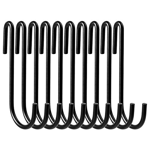 VDOMUS Pot Rack Hooks Black S Style for Kitchen Pot Hanging, Set of 10 … (Black)