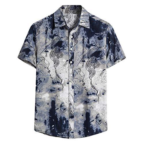 Yowablo Herren Kurzarm Shirt Einfarbig Freizeithemd Casual Hemden Leichte Atmungsaktives Bequem Leinen Sommerhemden Loose Fit (3XL,6Weiß)