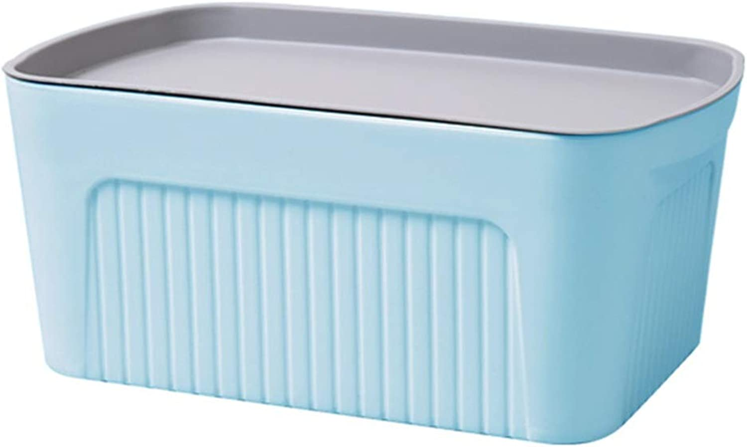 ZHANGQIANG Storage Basket Laundry Basket Large Plastic Storage Box and Lid (Pack of 1) Multiple Colour with Lid (color   bluee, Size   Medium)