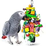 SunGrow Chewing Toy for Parrot, Cockatiel, Macaw, Conure, Parakeet, 15.7 Inches Tall by 4 Inches Wide, Edible Chew, Nibbling Keeps Beaks Trimmed, Multicolored Wooden Blocks, 1 pc