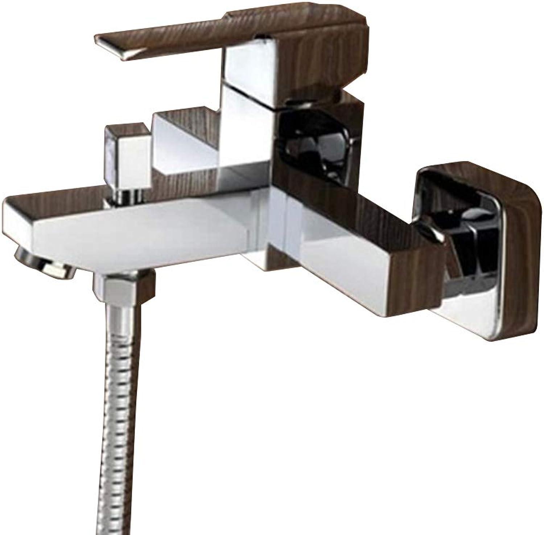 Santonliso Above Counter Bathroom Sink Faucet Combo Shower faucet multi-function bathtub faucet Copper Basin Mixer Taps (color   Silver, Size   002)