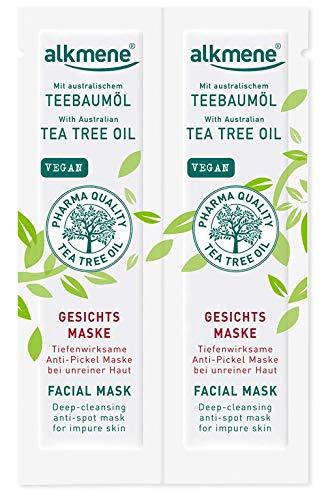 alkmene Teebaumöl Anti Pickel Gesichtsmaske - Tiefenwirksame Gesicht Maske bei unreiner Haut - vegane Gesichtsreinigung ohne Silikone, Parabene & Mineralöl - Gesichtsmasken im 2er Pack (2x 6 ml)