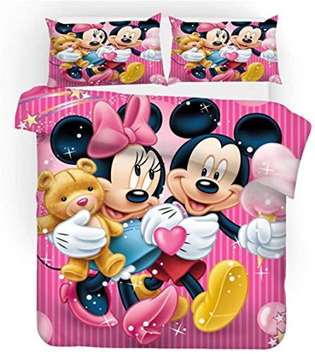 BLSM-Disney - Juego de cama de 3 piezas con funda de edredón y fundas de almohada, diseño de Mickey y Minnie Mouse, A01, 220X240CM