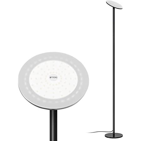 Trond Led Torchiere Floor Lamp Dimmable 30w 5500k Natural Daylight Not Warm Yellow Max 5000 Lumens 71 Inch 30 Minute Timer Compatible With Wall Switch For Living Room Bedroom Office Black Amazon Com