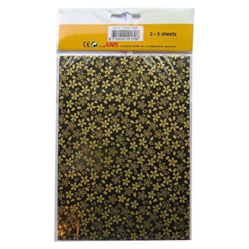 Handgefertigte Dekorative Koreanischen Han-Ji Maulbeerpapier - 2 Designs - Goldblatt und Glitter Sechseck - 3 Blatt von jeder - Größe 212mm x 151mm